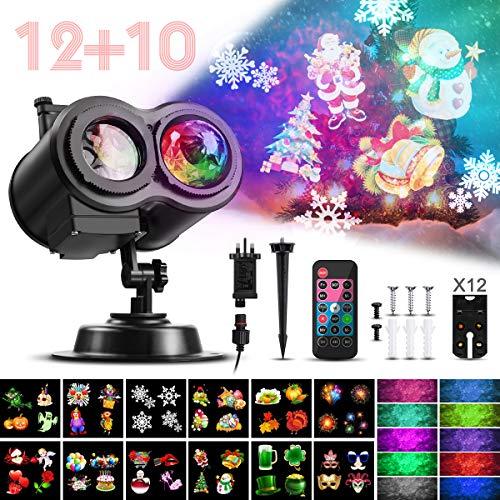 CAMTOA LED Projektionslampe, Weihnachten Projektor Beleuchtung Doppelter Kopf IP44 Projektionslampe mit 12 Wechselbaren Musters, Weihnachtslicht Landschaft Spotlight für Weihnachten/Geburtstag/Party