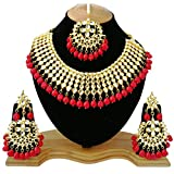 #7: Finekraft Meena Kundan Stylish Gold Plated Wedding Designer Choker Necklace Jewelry Set