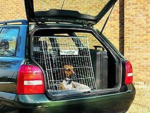 VivaPet Cage de transport en métal pour chien/chat avec face avant inclinée pour la voiture et plateau en métal Convient à la plupart des voitures 76 x 54 x 61 cm