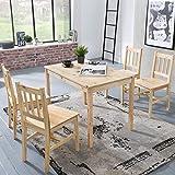 Wohnling Esszimmer-Set Emil 5 teilig Kiefer-Holz Landhaus-Stil 108 x 73 x 65 cm | Natur Essgruppe 1 Tisch 4 Stühle | Tischgruppe Esstischset 4 Personen | Esszimmergarnitur massiv