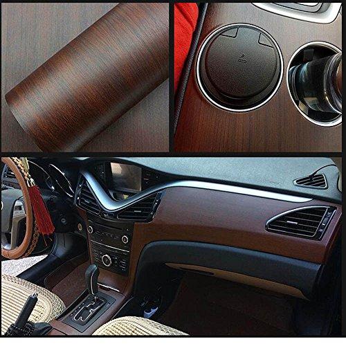 hoho 11,8en. Por 39,3en. Grano de madera color película mate Wrap Vinilo Vehículo de vinilo autoadhesivo decorativo para el interior del coche