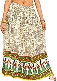 Exotic India Off-White Warli Folk Printe...