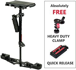 Flycam HD-3000 Video Camera Handheld Stabilizer with Micro Adjustments and Quick Release Table Clamp (Black)