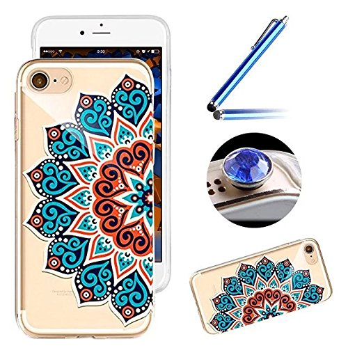 Etsue Custodia iphone SE Tpu,iphone 5S Cover Trasparente,Colorate Dipinto Bella/Moda/Retro Modello Floreale Soft Gel Morbida in Silicone Protettiva Cover Case Per iPhone 5/5S/SE+Blu Pennino e scintill *16