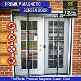 TheFitLife Double Door Magnetic Screen - Heavy Duty Mesh Curtain with Full Frame Velcro and Powerful Magnets, Snap Shut Automatically for Patio, Sliding or Large Door (Fits doors up to 60''x80'' Max)