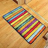 MoMo Teppich Retro Rainbow Striped Fliese Trends Individuelle Foot Pad Rechnungsstellung Glätte in und aus der Fußmatte,50 * 80 cm