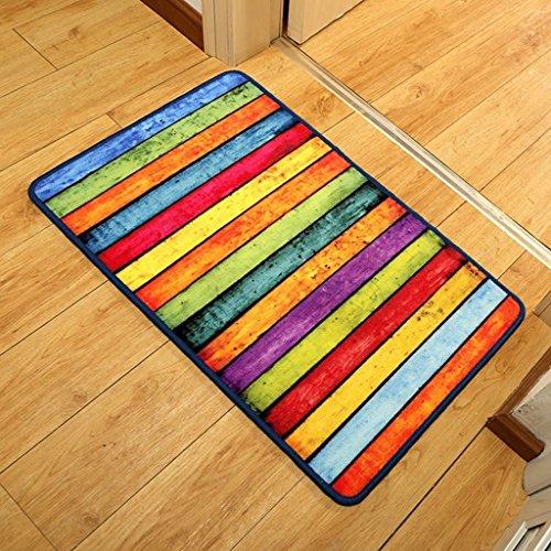 WW Teppich Retro Rainbow Striped Fliese Trends Individuelle Foot Pad Rechnungsstellung Glätte in und aus der Fußmatte,80 * 120 cm Hof-fliesen