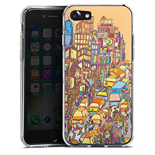 Apple iPhone X Silikon Hülle Case Schutzhülle New York Bunt Stadt Silikon Case transparent