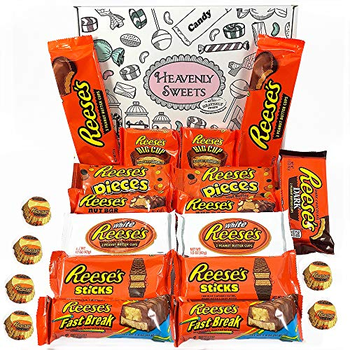 Reeses Präsentkorb aus den USA   Peanut Butter und Schokolade   Peanut Butter Cups, Pieces, Sticks, Nut Bars, Miniatures   18 Produkte in einer schönen retro Geschenkschachtel verpackt