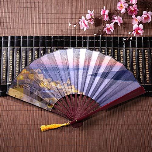 Eventails en bambou japonais impressionnants en soirée, vue de Santorin avec cadre en bambou, pendentif pompon et sac en tissu, ventilateur japonais en bambou, ventilateurs rabattables avec étui,