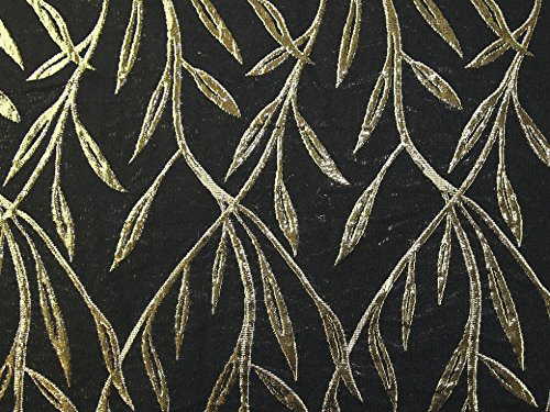 Minerva Crafts Leaf Gewebe der Metallic Brokat Kleid Schwarz & Gold–Meterware