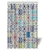 Marokkanische Decor Vorhang für die Dusche, Patchwork Muster von Bunte Marokkanische Fliesen traditionellen Dekorieren Stoff Badezimmer Duschvorhang Set mit Haken, 91,4x 182,9cm, Textil, Multi 1, 48 X 72 inches