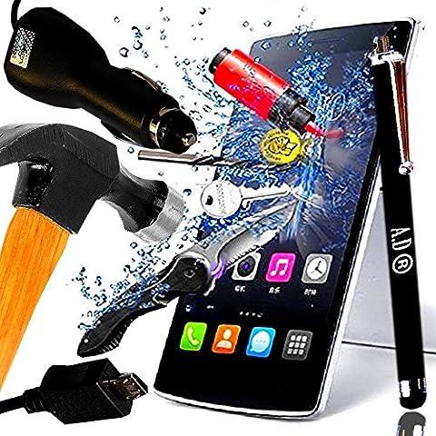*** COFFRET COMPLET *** FILM PROTECTION SONY XPERIA M2 Ecran en VERRE Trempé filtre protecteur d'écran Transparent & INRAYABLE vitre INCASSABLE + CHARGEUR VOITURE Allume Cigare Noir + STYLET Turquoise pour Smartphone pour Smartphone Xpéria M 2 aqua 4G double dual