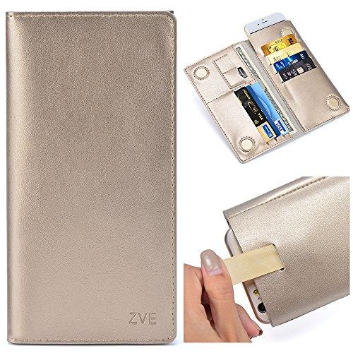 ZVE® Echt Leder Geldbörse, Unisex Damen und Herren Portemonnaie Börse Geldbeutel Brieftasche mit Kartenfächer Magnet Handy Schutzhülle für iPhone 6s plus/ 6 plus/ 7 plus