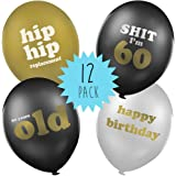 60th Birthday Balloons - funny birthday balloons gift idea for 60th birthday party decorations - Pack of 12