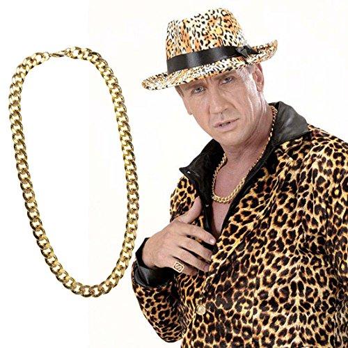 NET TOYS Hip Hop Kette Goldene Halskette Schmuck Imitat Goldkette Kostüm Zubehör Pimp Karnevalsschmuck (Hip Hopper Kostüm)