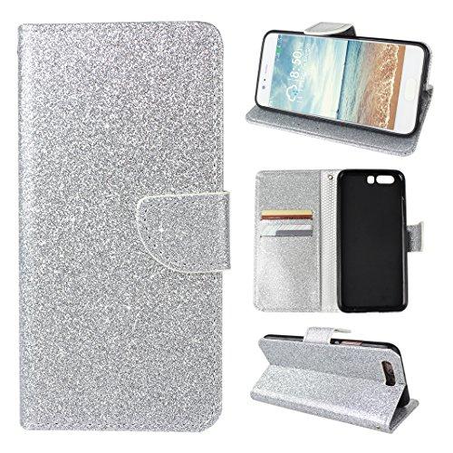 Brillante Flip Caso Per Huawei P10 Plus, Asnlove Fashion Brillare Bling Folio Cover Risplendere Custodia Glitter Colore Puro Cassa Antiurto Case Bumper Per Huawei P10 Plus - Argento