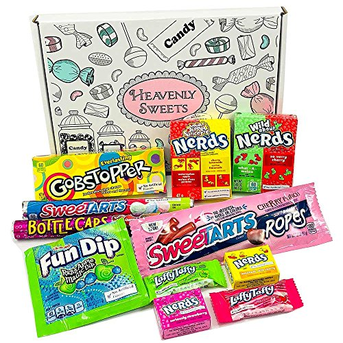 Heavenly Sweets Nerds Geschenkbox – Amerikanische Retro-Süßigkeiten, Rainbow Nerds, Nerds Mini Boxes, Laffy Taffy…