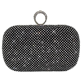 Wocharm Shimmering Crystal Gold Silver Black Diamante Encrusted Evening Bag Baguettes Clutch ...