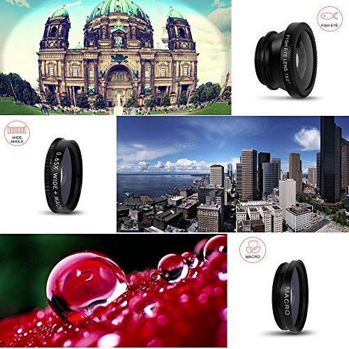 MEMTEQ® Universal 5 in 1 Cell Phone Camera Lens Kit Clip-On FishEye Lens + 2 in 1 Macro Lens + Wide Angle Lens + Teleconverter + CPL Filter Universal Clip Phone Camera Lens for Android/ iOS Smartphone, iPhone 7, 6, 6 plus, 5, 5C, 5S, 4, 4s, iPad 2, 3, 4, Air (Black)