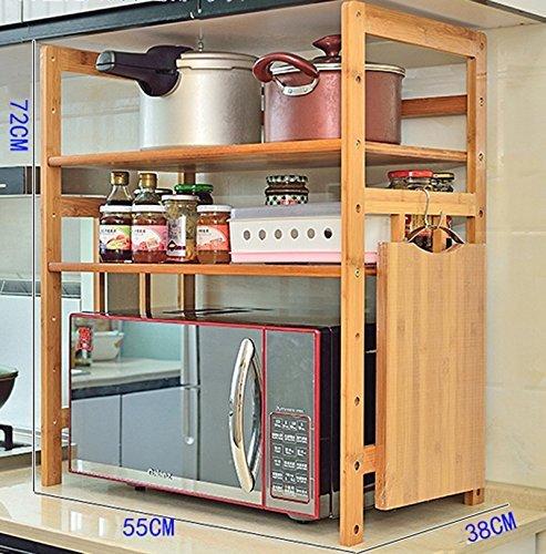 ILQ Küchenregal Mikrowellenherd-Gestell 2 Geschichten-Mehrzweckregal-Regal-Regal-Regal-Ofen-Regal Bambusregal-einfaches Regal,72 * 38 * 55 cm,Primärfarbe