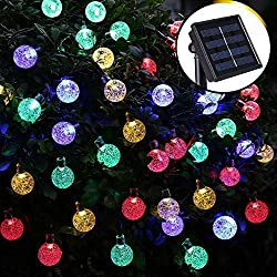 Hosyo Solar Outdoor String Lights, 16ft 20 LED Water Drop Solar String Fairy Waterproof Lights Christmas Lights Solar Powered String lights for Garden, Patio, Yard, Home, Christmas Tree, Parties