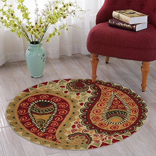 Multi Color Carpets 3 feet round paisley design wool carpet Rugs for Living Room Natural Undyed Floral Design Washable Anti-allergic Exclusive Carpet Best for Living Room / Bed Room / Dining Room / Coffee Table 3 feet round paisley design wool carpet By The Home Talk  available at amazon for Rs.1299