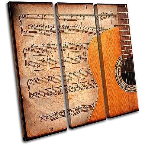 Bold Bloc Design - Acoustic Guitar Musical - 120x120cm Tela Art Print Box incorniciato appeso a parete foto - mano Made In UK - incorniciato e pronto da appendere - Canvas Art Print