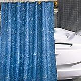 YuLl Blau Wassertropfen Polyester Duschvorhang Schimmel Dicker Wasserdichter Duschvorhang Trennvorhang 150 * 180 (H) cm