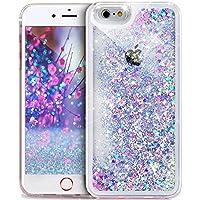 Ikasus® - Funda protectora para iPhone 4, 4S de Apple, de plástico duro con efecto lujoso, con líquido interior en movimiento, brillo de diamante, transparente - Rosa azul, con corazones