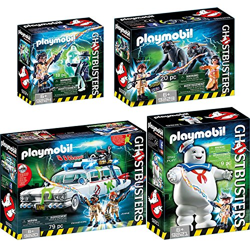 PLAYMOBIL® GhostbustersTM Set: 9220 9221 9223 9224 Ecto-1 + Stay Puft Marshmallow Man + Venkman und Terror Dogs + Spengler & Ghost