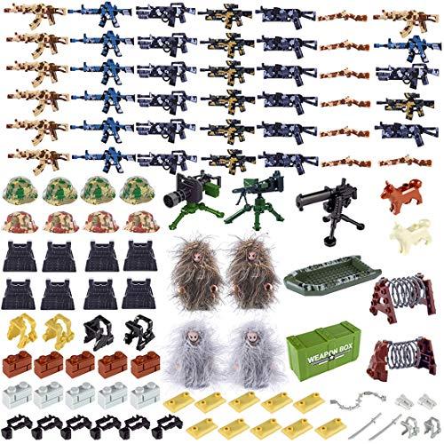 NURICH Helm + Weste + Custom Waffen Set für Soldaten Mini Figuren - Militär Lego Set