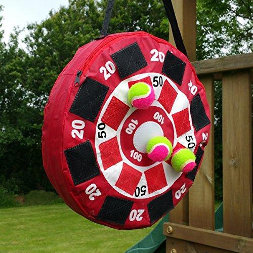 Land-Haus-Shop Dartscheibe Wurfscheibe Dart Spiel Klett Scheibe Rot, Ball Wurfspiel mit 3 Bälle