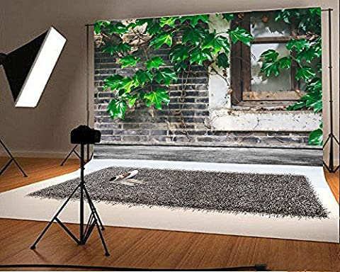 Aaloolaa vintage Mur de briques Fresh Vines Leaves Photographie Toile de fond 2.2x 1.5m Nostalgia Rebord de fenêtre Photo Shoot Fond Adulte Homme Femme garçon fille Kid artistique Portrait Props Video Studio