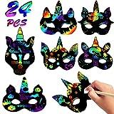VAMEI 24 Stück Bastelset Kinder Masken Kratzpapier Maske Halloween Maske DIY Kratzbilder Kratzmaske mit Gummiband und Holzstift Halloween Party Mitgebsel