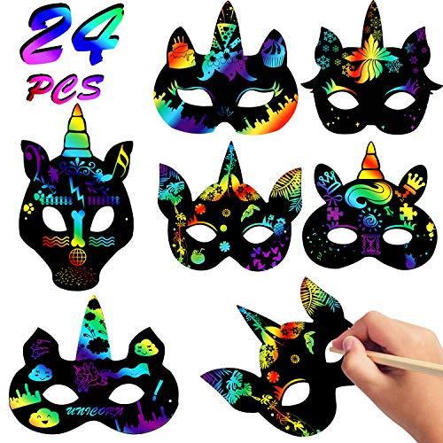 VAMEI 24 Stück Kinder Masken Kratzbilder Bastelset Kinder Kratzpapier Maske Halloween Maske DIY Kratzmaske mit Gummiband und Holzstift Halloween Party Mitgebsel