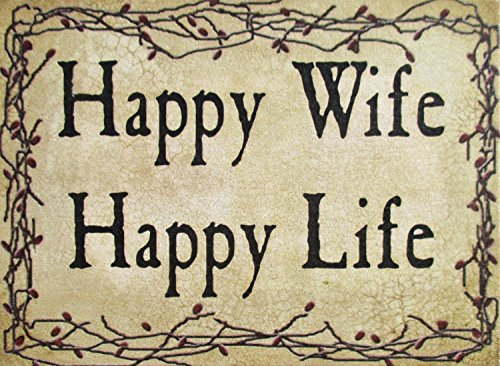 Farmisms Country Holzschilder Country Rustic Rustic White Vine Happy Wife Happy Life