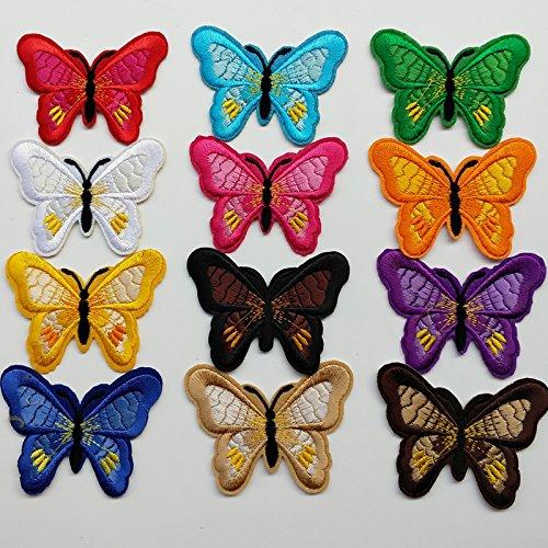 Preisvergleich Produktbild chenkou Craft 24/Stiefel für Barbie Schmetterling sortiert Bügelbild zum Aufbügeln oder Aufnähen bestickt Patch Motiv Aufnäher Patches