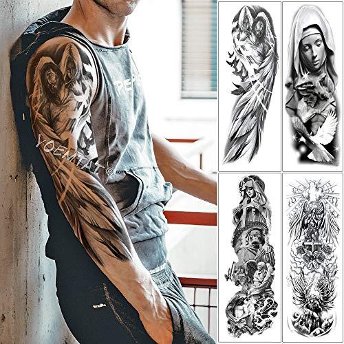 tzxdbh Große Arm Ärmel Tattoo Engelsflügel Taube Jesus Wasserdicht Temporäre Tätowierung Aufkleber Heiligkeit Männer Voller Schädel