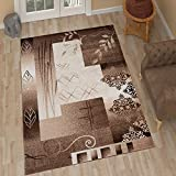 "TAPISO Tango Contemporary Rug Brown & Beige Floral Pattern Perfect for Living Room Bedroom High Quality Easy to Clean Stylish Design High Quality Carpet 140 x 190 cm (4ft7"" x 6ft3"")"