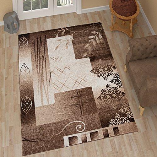 Tapiso Tango Teppich Modern Kurzflor Hellbraun Creme Floral Ornament Viereck Streifen Muster Designer Schlafzimmer Wohnzimmer Ökotex 200 x 290 cm (Streifen Teppich Floral)