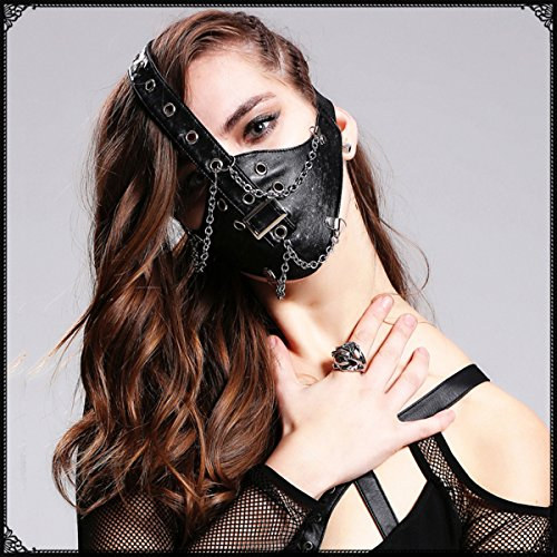 Totenkopf Rock Stage Perform Punk Herren Damen Leder Maske Steampunk Skelett Motorrad Biker Eishockey Radfahren Winter Half Face Mask Masquerade, Stil Nr. 4, Einheitsgröße
