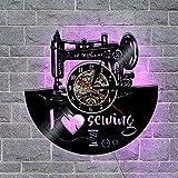 OOFAY Clock@ Wanduhr Aus Vinyl Schallplattenuhr Familien Wohnzimmer Schlafzimmer 3D Dekoration Kreative LED-Nähmaschine Design-Uhr Wand-Deko/30CM Schwarz
