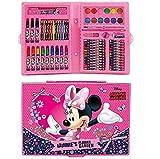 kids4shop 72 TLG. - großer Malkoffer - Minnie Mouse Maus Disney Mickey - Malset - zum basteln oder malen / Filzstifte / Wachsmalstifte / Buntstifte / Aquarellfarbe - Schreibset + Sticker