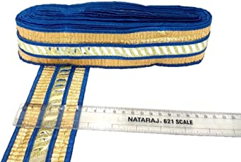 Crisskross Gotta Patti Lace Border, Designer for Dress/Sarees/Lehenga/Suits/Blouses and Craft Blue/Golden/6.5cm X 9meters Pack
