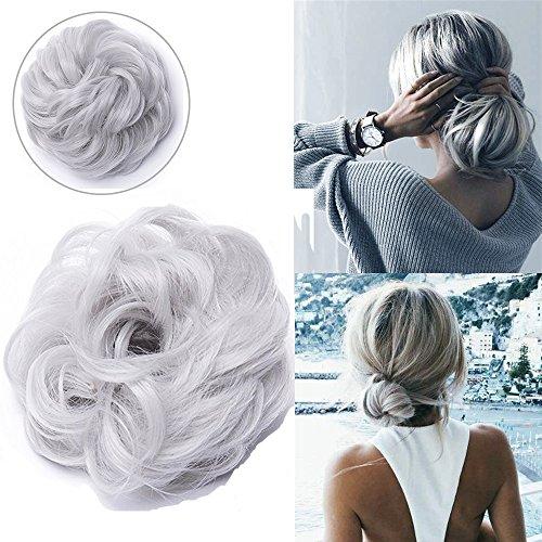 Chignon capelli finti ricci extension elastico hair magic messy curly bun updo coda di cavallo accessori capelli crocchia 40g grigio argento
