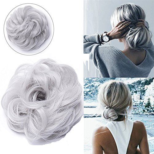 Extension chignon elastico scrunchie capelli ricci messy bun ponytail extension curly updo 40g grigio argento