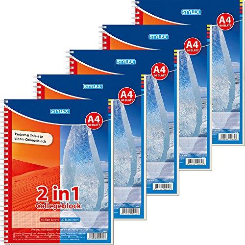 Stylex 40032-P5 Duo Spiral-Collegeblock 5-er Packung, Kariert und Liniert, DIN A4