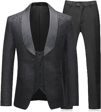 Mens Suit 3 Piece Slim Fit Wedding Business Dinner Suits for Men Jacket Button Shawl Lapel Blazer Waistcoat Trousers
