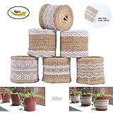 6Pcs natural de arpillera artesanía cinta rollo con encaje blanco 5CM x 2M para DIY hecho a mano artesanías de boda decoraciones encaje de lino regalo arreglos florales por Shovan